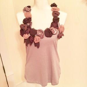 Anthropologie Rose neckline blouse